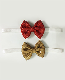 Knotty Ribbons Set Of 2 Sequin Bow Headbands - Red & Golden