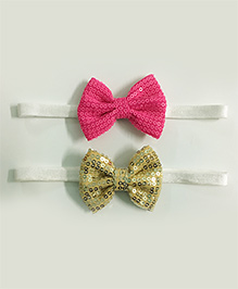 Knotty Ribbons Set Of 2 Sequin Bow Headbands - Light Pink & Silver