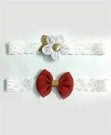 Knotty Ribbons Set Of 2 Glitter Flower & Bow Headbands - White & Red