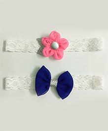 Knotty Ribbons Set Of 2 Glitter Flower & Bow Headbands - Light Pink & Dark Blue