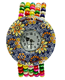 Angel Glitter Beaded Watch Floral Print Dial - Multi Color - 1773427