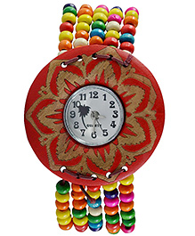 Angel Glitter Round Dial Analog Watch - Red Golden