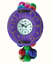 Angel Glitter Beaded Watch With A Large Dial - Purple