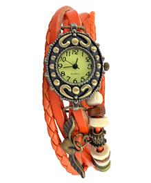 Angel Glitter Wrist Watch With An Oval Dial - Orange