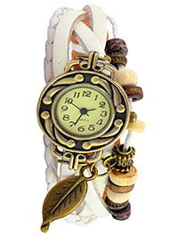 Angel Glitter Wrist Watch With An Autumn Leaf Trinket - White