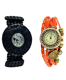 Angel Glitter Black Big Dial Organic Two Wood Watch Combo - Multicolour