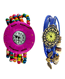Angel Glitter Dial With Small Triangle Organic Two Wood Watch Combo - Multicolour