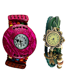 Angel Glitter Pink And Green Combination Best Ever Organic Two Watch Combo - Pink & Green