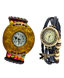 Angel Glitter Life Is A Circle Combo Of Organic Two Watches - Multicolour