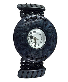 Angel Glitter Wrist Watch With A Beaded Strap & Designer Dial - Black - 1773508