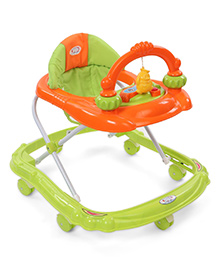 Baby Musical Walker With Play Tray - Green & Orange