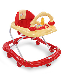 Baby Musical Walker With Play Tray - Red & Light Yellow