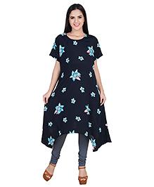 Blush 9 Half Sleeves Asymmetrical Maternity Tunic Floral Print - Dark Navy Blue