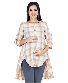 Blush 9 Three Fourth Sleeves Checkered Maternity Tunic - Beige