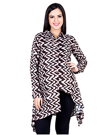 Blush 9 Full Sleeves Printed Maternity Nursing Tunic - Brown & White