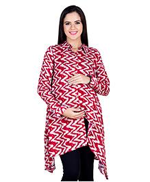Blush 9 Full Sleeves Printed Maternity Nursing Tunic - Red & White
