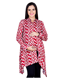 Blush 9 Full Sleeves Printed Maternity Nursing Tunic - Red & White