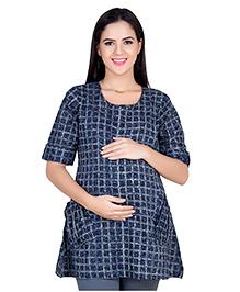 Blush 9 Half Sleeves Checks Maternity Tunic - Blue & Grey