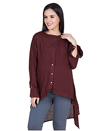 Blush 9 Full Sleeves Solid Color Maternity Tunic - Brown