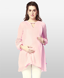 Nine Three Fourth Sleeves Maternity Tunic Lace Detailing - Pink
