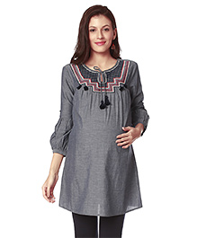 Nine Three Fourth Sleeves Maternity Nursing Tunic Embroidered - Grey