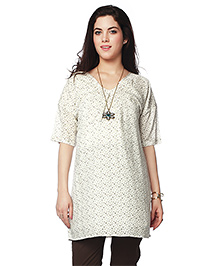Nine Half Sleeves Maternity Nursing Tunic Printed - Off White