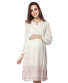 Nine Three Fourth Sleeves Maternity Dress Abstract Print - White