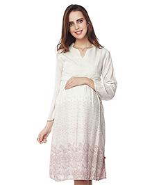 Nine Three Fourth Sleeves Maternity Dress Abstract Print - White