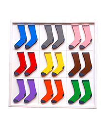 Skola Wooden Sock Twins Colours Pair Match & Learn Toy Multicolor - 9 Pair Of Socks