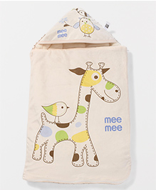 Mee Mee Blanket With Hood With Giraffe Print - Cream