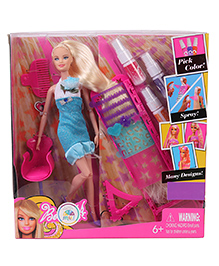 Smiles Creation Bettina Doll With Hair Colour & Design Studio Set Sky Blue - Height 31 Cm