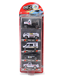 Smiles Creation Diecast Police Cars White - Set Of 5