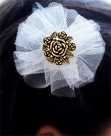 Pretty Ponytails Roses In Tulle Hair Clip - White & Gold