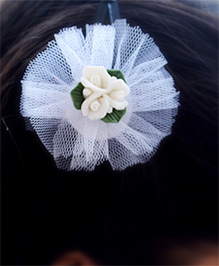 Pretty Ponytails Roses In Tulle Hair Clip - White