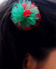 Pretty Ponytails Rose In Tulle Christmas Hair Clip - Red & Green