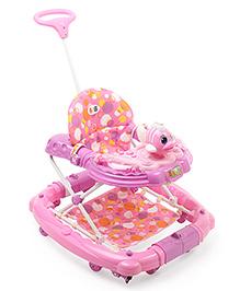 Musical Baby Walker Cum Rocker With Push Handle Fish Design - Pink