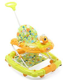 Musical Baby Walker Cum Rocker With Push Handle Fish Design - Green & Orange
