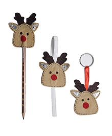 Li'll Pumpkins Reindeer Set 3 Pencil Topper Book Mark & Key Chain - Brown