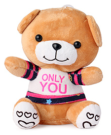 Skylofts Suction Hook Up Teddy Bear With Printed Jacket Soft Toy Brown - Height 25 Cm