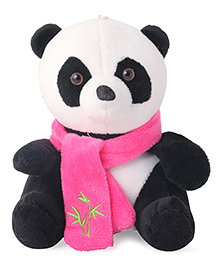 Skylofts Suction Hook Up Panda With Muffler Soft Toy Black Pink & White - Height 22 Cm
