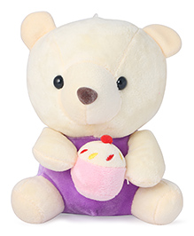Skylofts Suction Hook Up Teddy Bear With Cup Cake Soft Toy Purple - Height 20 Cm