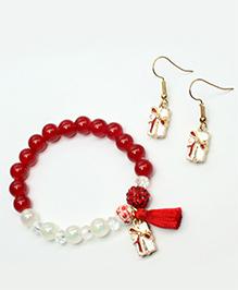 Asthetika Crystal Bracelet & X-mas Gift Earrings Set X-mas Special - Red