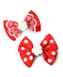 Asthetika Bows With Flower Hair Clips Set Of 2 - Red