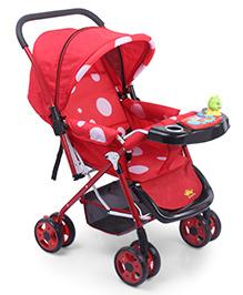 Baby Musical Pram Cum Stroller Polka Dots Print - Red