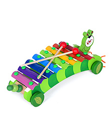 Emob Xylophone Caterpillar Face Pull Along Toy - Green