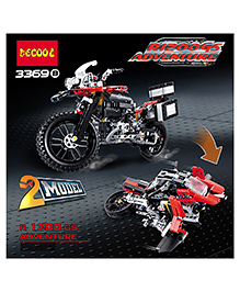 Emob 2 In 1 Motorcycle Biker R1200GS Adventure Motorrad Building Blocks Set Red - 603 Pieces