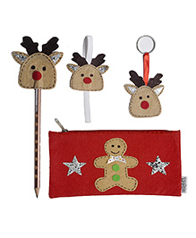 Li'Ll Pumpkins Gingerman Stationary Pouch & Reindeer Set Of Pencil Topper Book Mark Key Chain - Multicolour