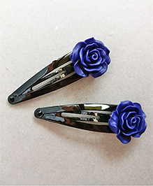 Tiny Closet Rose Applique Hair Clip Set Of 2 - Royal Blue