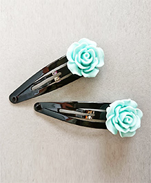 Tiny Closet Rose Applique Hair Clip Set Of 2 - Bluish Green