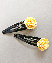 Tiny Closet Rose Applique Hair Clip Set Of 2 - Yellow
